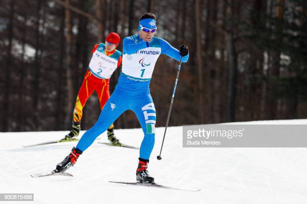 Cristian Toninelli of Italy competes in the Men's Cross Country 20km Free Standing event at Alpensia Biathlon Centre during day three of the...