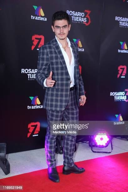 Cristian Vega poses for photos during the red carpet and presentation of the 3rd season of 'Rosario Tijeras' at Azteca Tlalpan on August 21 2019 in...