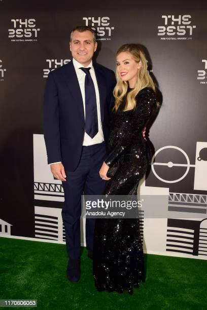 Cristian Vieri and Costanza Caracciolo arrive on the Green Carpet ahead of The Best FIFA Football Awards at Teatro alla Scala on September 23, 2019...