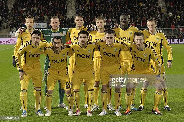 Cristian Villagra of Metalist Kharkiv,goalkeeper Oleksandr Goryainov of Metalist Kharkiv,Marco Torsiglieri of Metalist Kharkiv,Oleg Shelayev of...