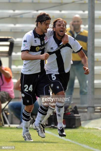 Cristian Zaccardo and Massimo Paci of Parma celebrate a goal during Serie A match played between Parma FC and US Citta di Palermo at Stadio Ennio...