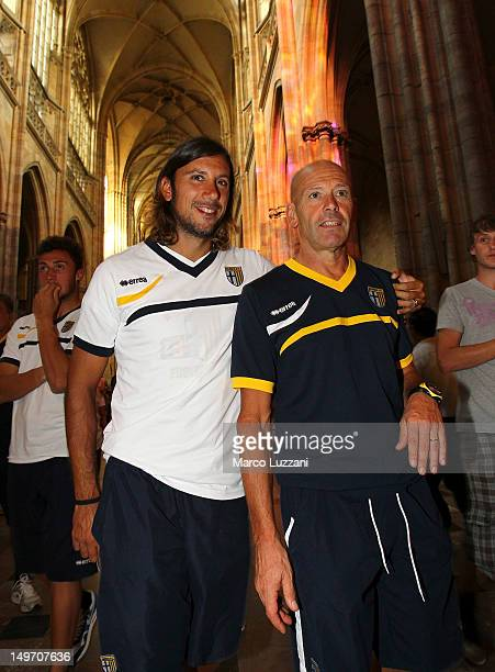 Cristian Zaccardo and Roberto Pelacci of FC Parma visit Prague on August 2 2012 in Prague Czech Republic