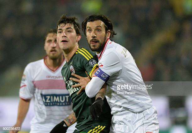 Cristian Zaccardo of Carpi FC competes with Alessio Romagnoli of AC Milan during the Serie A match between Carpi FC and AC Milan at Alberto Braglia...