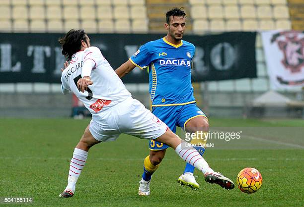 Cristian Zaccardo of Carpi FC competes with Khadim Ali Adnan Udinese Calcio during the Serie A match between Carpi FC and Udinese Calcio at Alberto...
