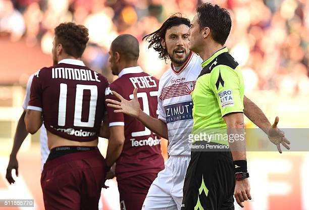 Cristian Zaccardo of Carpi FC reacts to referre Claudio Gavillucci during the Serie A between Torino FC and Carpi FC at Stadio Olimpico di Torino on...
