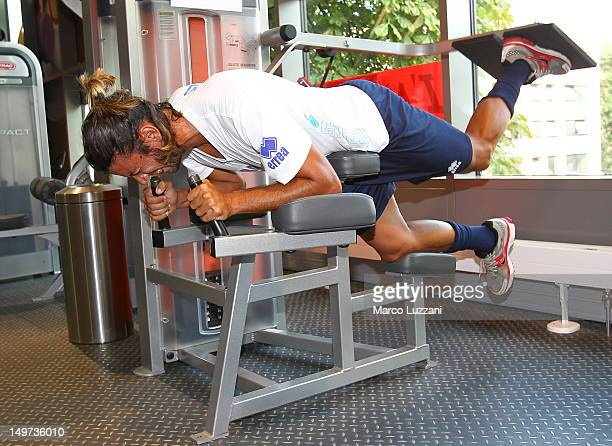 Cristian Zaccardo of FC Parma exercises during a preseason training session at Clarion Congress Hotel on August 3 2012 in Prague Czech Republic