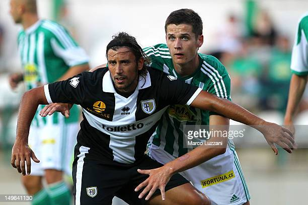 Cristian Zaccardo of FC Parma is challenged by Roman Potocny of Bohemians 1905 during the pre-season friendly match between Bohemians 1905 and Parma...