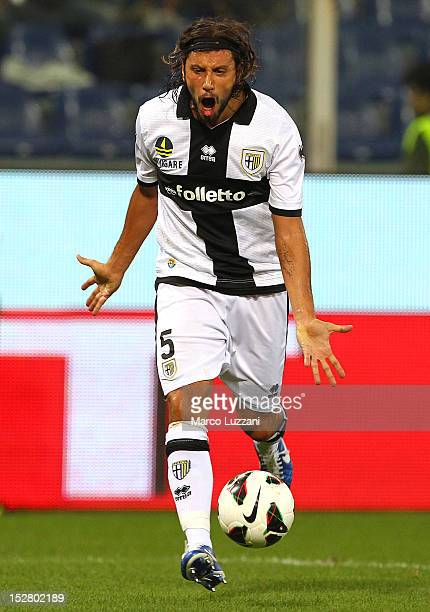 Cristian Zaccardo of FC Parma reacts during the Serie A match between Genoa CFC and Parma FC at Stadio Luigi Ferraris on September 26 2012 in Genoa...