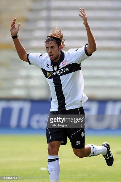 Cristian Zaccardo of Parma celebrates a goal during Serie A match played between Parma FC and US Citta di Palermo at Stadio Ennio Tardini on...