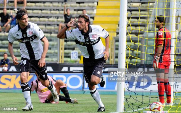 Cristian Zaccardo of Parma celebrates after scoring the opening goal of the Serie A match between Parma FC and US Citta di Palermo at Stadio Ennio...
