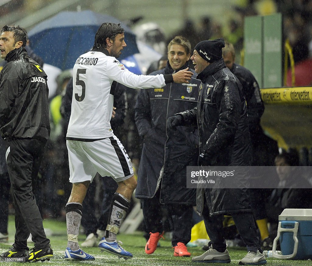 Cristian Zaccardo of Parma FC #5 celebrates scoring the third goal during the Serie A match between Parma FC and AS Roma at Stadio Ennio Tardini on October 31, 2012 in Parma, Italy.