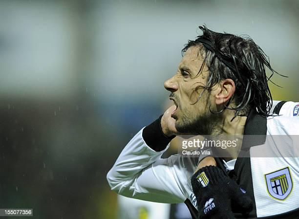 Cristian Zaccardo of Parma FC celebrates scoring the third goal during the Serie A match between Parma FC and AS Roma at Stadio Ennio Tardini on...