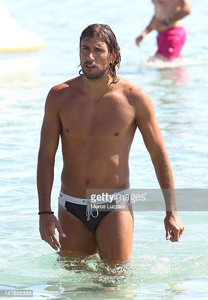 Cristian Zaccardo of Parma Fc during the training session on the beach during Parma FC PreSeason Training Session at Geovillage on July 5 2012 in...
