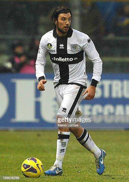 Cristian Zaccardo of Parma FC in action during the Serie A match between Parma FC and Juventus FC at Stadio Ennio Tardini on January 13 2013 in Parma...