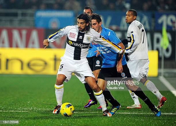 Cristian Zaccardo of Parma FC in action during the Serie A match between Novara Calcio and Parma FC at Silvio Piola Stadium on November 26 2011 in...