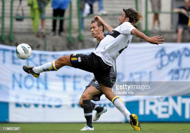 Cristian Zaccardo of Parma FC scores the first goal during a preseason friendly match between Parma FC and PFC Ludogorets Razgrad on July 23 2011 in...