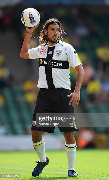 Cristian Zaccardo of Parma in action during the PreSeason Friendly match between Norwich City FC and Parma FC at Carrow Road on August 6 2011 in...