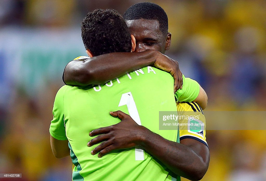 Cristian Zapata and David Ospina of Colombia Celebrate after defeating Uruguay 2-0 during the 2014 FIFA World Cup Brazil round of 16 match between Colombia and Uruguay at Maracana on June 28, 2014 in Rio de Janeiro, Brazil.