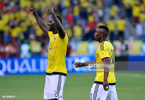 Cristian Zapata and Fabian Castillo of Colombia celebrate after winning a match between Colombia and Peru as part of FIFA 2018 World Cup Qualifier at...