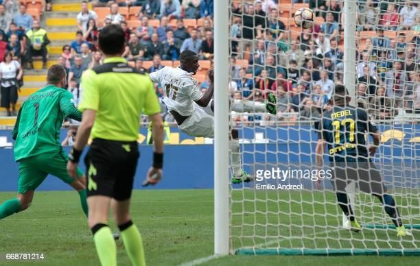 Cristian Zapata of AC Milan scores his goal during the Serie A match between FC Internazionale and AC Milan at Stadio Giuseppe Meazza on April 15,...