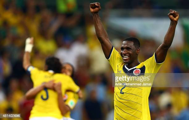 Cristian Zapata of Colombia Celebrates after defeating Uruguay 2-0 during the 2014 FIFA World Cup Brazil round of 16 match between Colombia and...