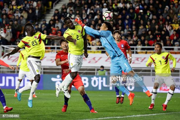 Cristian Zapata of Colombia scores a goal during the international friendly match between South Korea and Colombia at Suwon World Cup Stadium on...