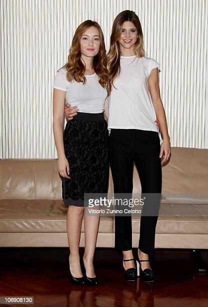 Cristiana Capotondi and Nicoletta Romanoff attend the Dalla Vita In Poi photocall held at Terrazza Martini on November 16 2010 in Milan Italy