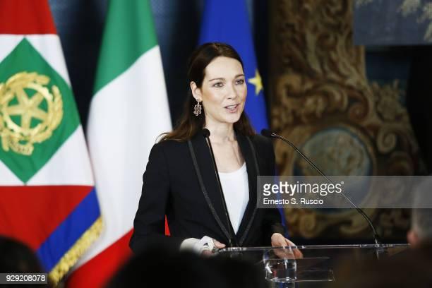 Cristiana Capotondi attends the International Women's Day Celebrations at Palazzo del Quirinale on March 8 2018 in Rome Italy