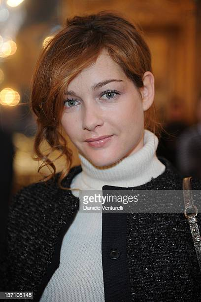 Cristiana Capotondi attends the Moncler Gamme Bleu fashion show as part of Milan Fashion Week Menswear Autumn/Winter 2011 on January 15 2012 in Milan...