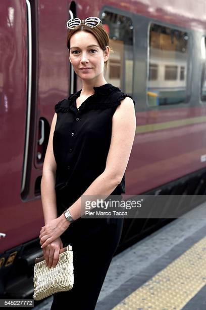 Cristiana Capotondi poses for a photo during Italo lounge opening at Central Station on July 6 2016 in Milan Italy