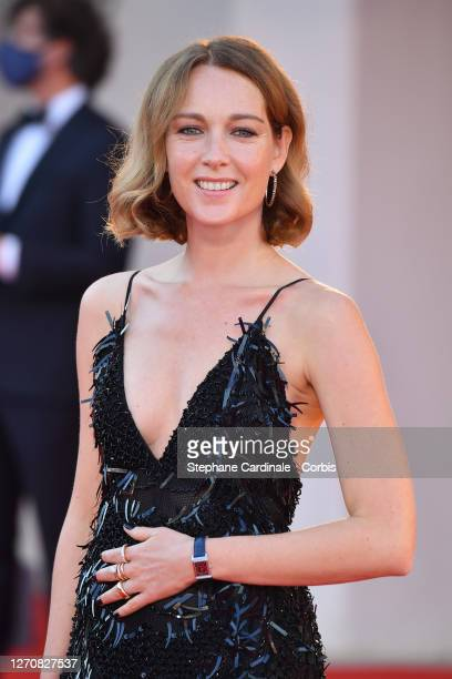 """Cristiana Capotondi walks the red carpet ahead of the movie """"Miss Marx"""" at the 77th Venice Film Festival on September 05, 2020 in Venice, Italy."""