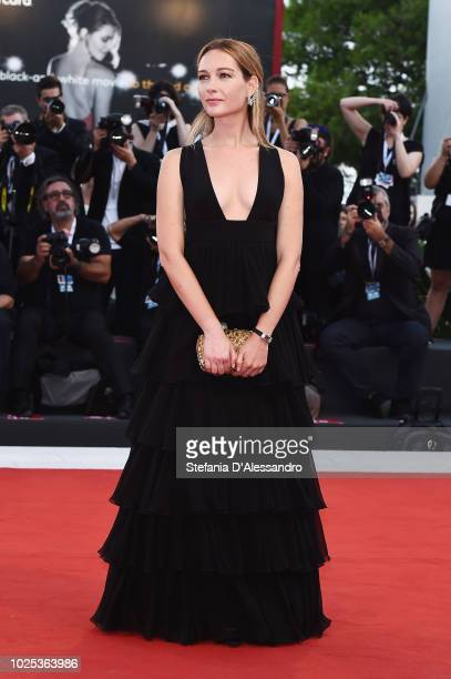 Cristiana Capotondi walks the red carpet ahead of the 'Roma' screening during the 75th Venice Film Festival at Sala Grande on August 30, 2018 in...