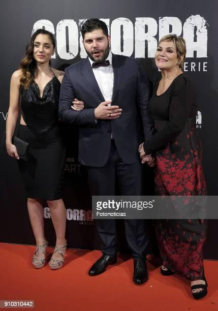 Cristiana Dell'Anna Salvatore Esposito and Cristina Donadio attend the 'Gomorra' premiere at Palacio de la Prensa cinema on January 25 2018 in Madrid...