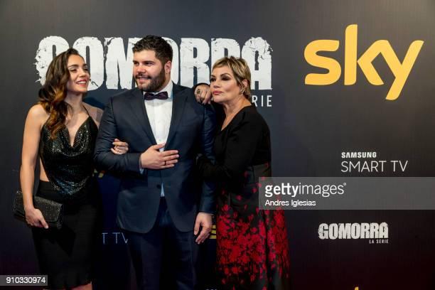 Cristiana Dell'Anna Salvatore Esposito and Cristina Donadio attends the 'Gomorra' season 3 premiere at Palacio de la Prensa on January 25 2018 in...