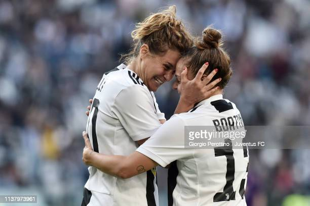 Cristiana Girelli and Lisa Boattin of Juventus celebrate their victory during the Women Serie A match between Juventus and ACF Fiorentina at Allianz...