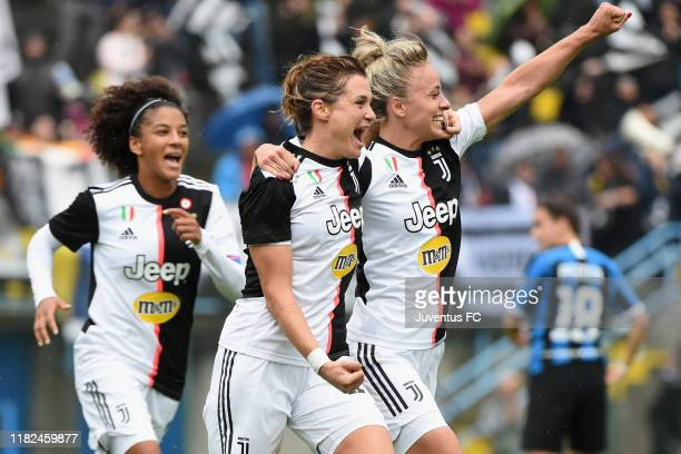 Cristiana Girelli celebrates her first goal with Sara Gama and Martina Rosucci of FC Juventus Women during the Women Serie A match between FC...
