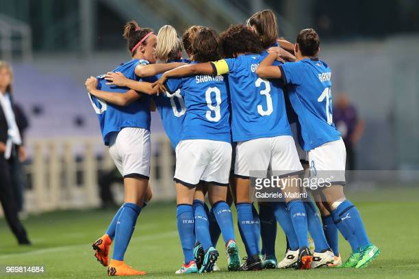 Cristiana Girelli of Italy celebrates after scoring a goal during the 2019 FIFA Women's World Cup Qualifier match between Italy and Portugal at...