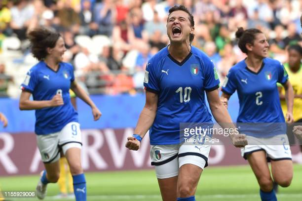 Cristiana Girelli of Italy celebrates after scoring a penalty during the 2019 FIFA Women's World Cup France group C match between Jamaica and Italy...