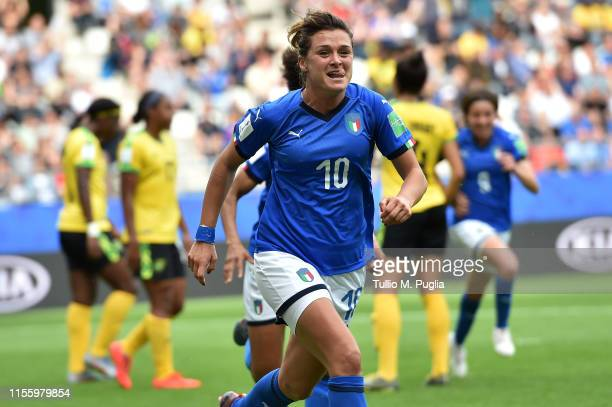 Cristiana Girelli of Italy celebrates after scoring her second goal during the 2019 FIFA Women's World Cup France group C match between Jamaica and...
