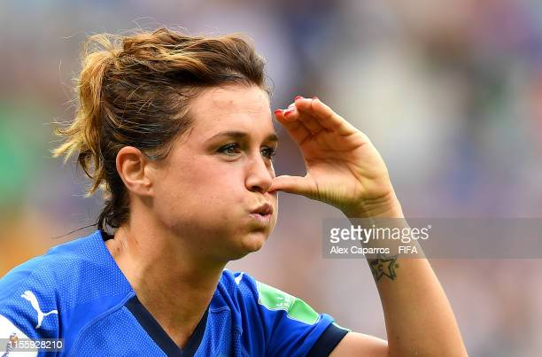 Cristiana Girelli of Italy celebrates after scoring her team's first goal during the 2019 FIFA Women's World Cup France group C match between Jamaica...