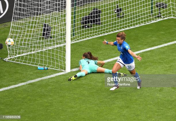 Cristiana Girelli of Italy celebrates after scoring her team's second goal during the 2019 FIFA Women's World Cup France group C match between...