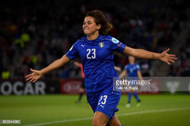 Cristiana Girelli of Italy celebrates after scoring her team's third goal during the UEFA Women's Euro 2017 Group B match between Sweden and Italy at...