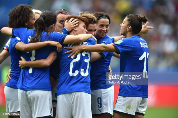Cristiana Girelli of Italy celebrates after scoring her third goal during the 2019 FIFA Women's World Cup France group C match between Jamaica and...