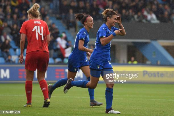 Cristiana Girelli of Italy celebrates after scoring his team second goal during the International Friendly match Italy Women and Switzerland Women at...