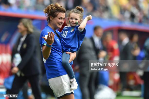 Cristiana Girelli of Italy celebrates after winning the 2019 FIFA Women's World Cup France group C match between Australia and Italy at Stade du...