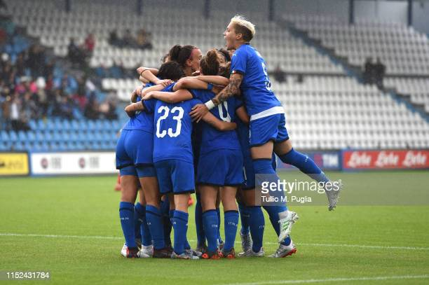 Cristiana Girelli of Italy celebrates with her teammates after scoring her team second goal during the International Friendly match Italy Women and...