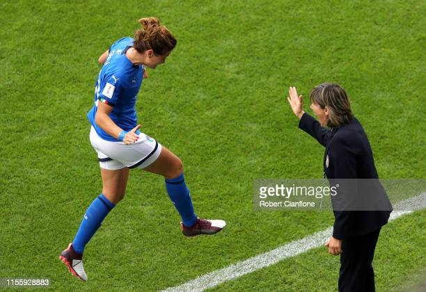 Cristiana Girelli of Italy celebrates with Milena Bertolini, head coach of Italy after scoring her team's first goal during the 2019 FIFA Women's...