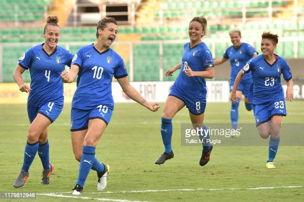 Cristiana Girelli of Italy celebrates with team mates after scoring the opening goal during the UEFA Women's European Championship 2021 qualifier...