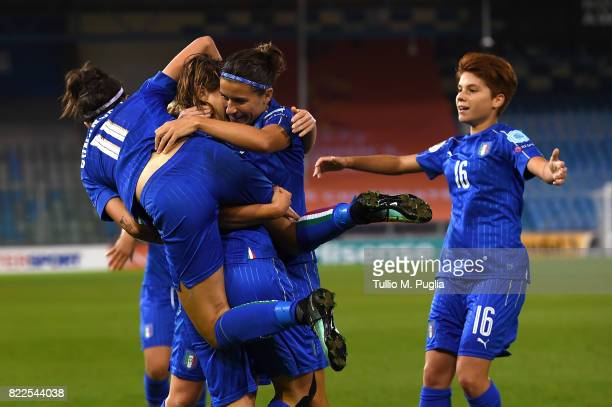 Cristiana Girelli of Italy celebrates with team mates after scoring her team's third goal during the UEFA Women's Euro 2017 Group B match between...