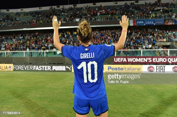 Cristiana Girelli of Italy greets supporters after winning the UEFA Women's European Championship 2021 qualifier match between Italy and Bosnia and...